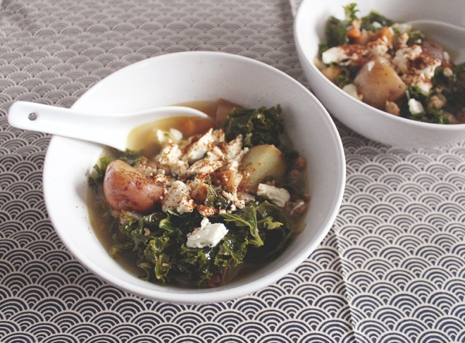 February Kale Soup with turkey sausage, chickpeas, and feta.